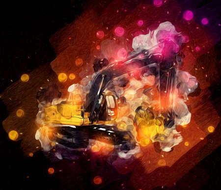 Excavator illustration color isolated art work