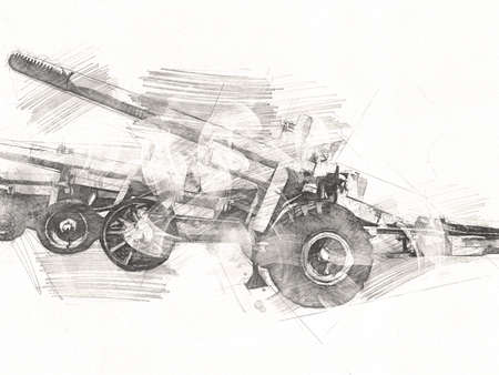 battlefield cannon military art illustration drawing sketch