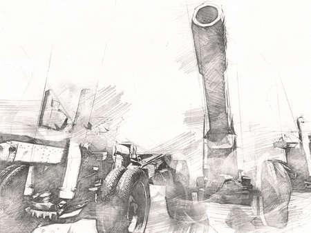 battlefield cannon military art illustration drawing sketch Foto de archivo
