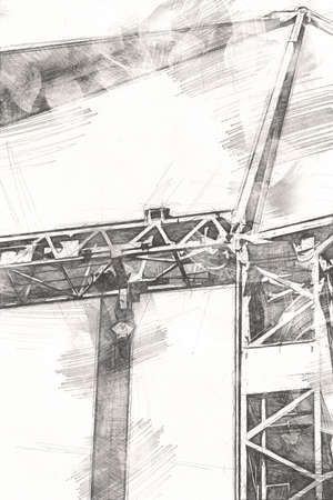 Building construction site with scaffolding vintage art illustration drawing sketch