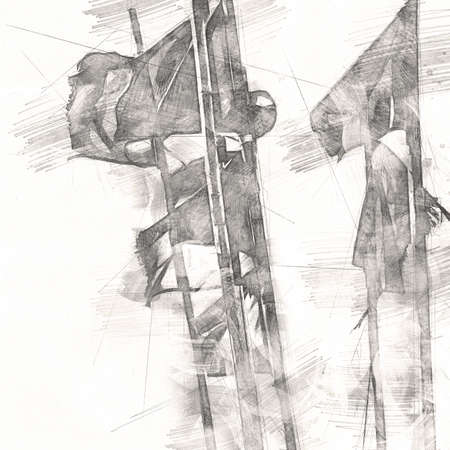 Colorful nautical sailing flags flying in the wind art illustration vintage drawing Stok Fotoğraf