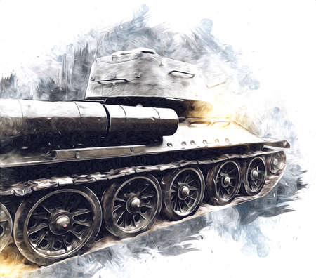 vintage the tank isolated drawing sketch art illustration