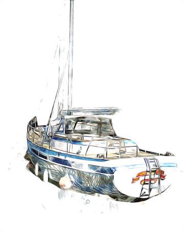 Sailing boats stowed at marina art illustration vintage retro Stock fotó