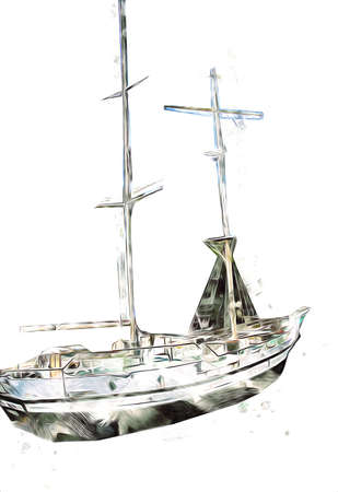 Sailing boats stowed at the pier, harbor art illustration vintage retro Stock fotó