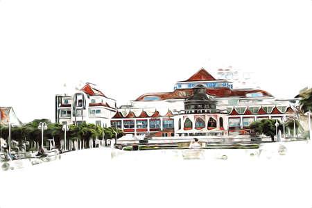 Square and promenade architcture landmark in Sopot art illustration drawing