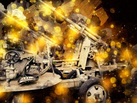 anti aircraft gun art illustration military drawing sketch