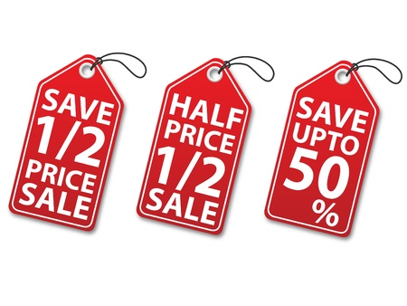 Red Color discount tags illustration