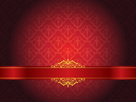 Luxury floral wallpaper with scroll Vector Illustration