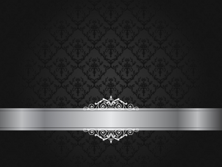 Luxury black floral wallpaper illustration with scroll