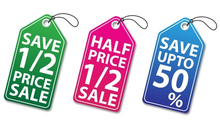 Colorful discount tags illustration in JPEG formats Illustration