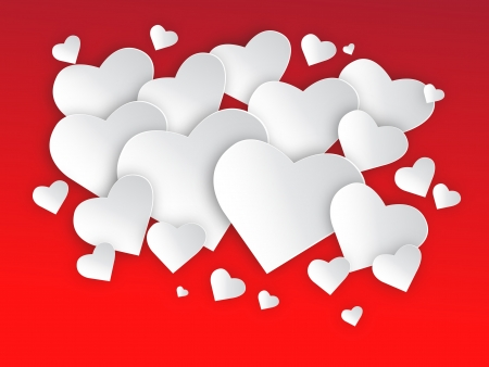 Hearts on red background illustration, can be scaled to any size without loss of resolution. You will need a editor to use this file  Illustration