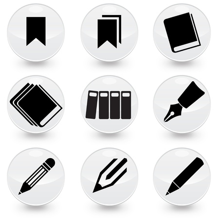 Pen Pencil books bookmarks  illustrator web icons, available in jpeg and eps formats.