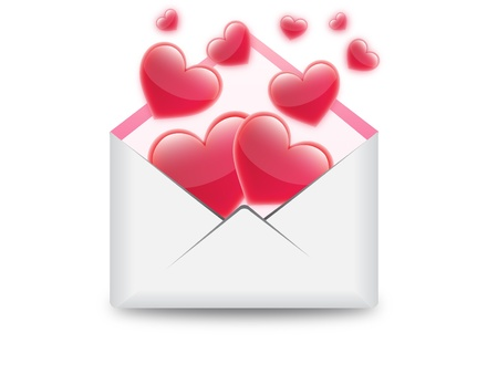 hearts in email illustration Stock Vector - 18457679