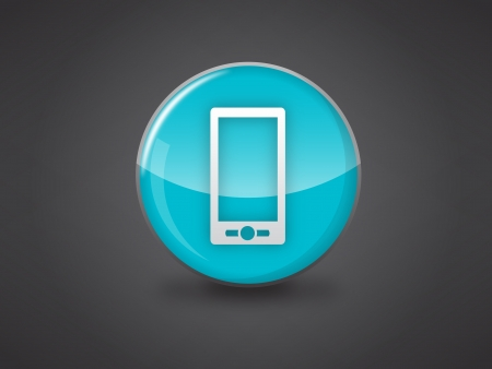 mobile phone icon on blue glossy circle vector illustration on dark grey background, this image available in jpeg and eps formats