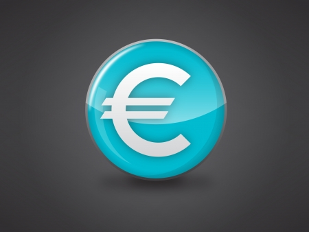 euro currency sign blue glossy icon vector illustration on dark grey background, this image available in jpeg and eps formats  Stock Vector - 18512349