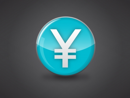 japanese yen sign blue glossy icon vector illustration on dark grey background, this image available in jpeg and eps formats