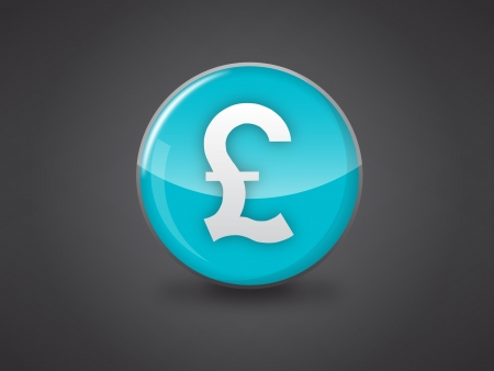 british pound sign blue glossy icon vector illustration on dark grey background, this image available in jpeg and eps formats