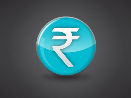 indian rupee sign blue glossy icon vector illustration on dark grey background, this image available in jpeg and eps formats
