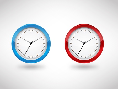 blue & red clock jpeg image vector illustration. This image will download as a jpeg or .eps file. You will need a vector editor to use this file. Stock Vector - 18779817