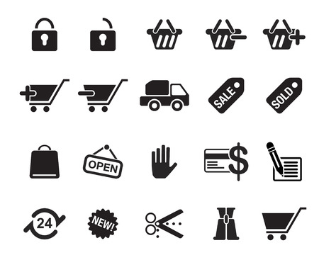 Shopping Icons vector illustrator, available in jpeg and eps formats, to modify this file editing software such as Adobe Illustrator, Freehand, or CorelDRAW is required