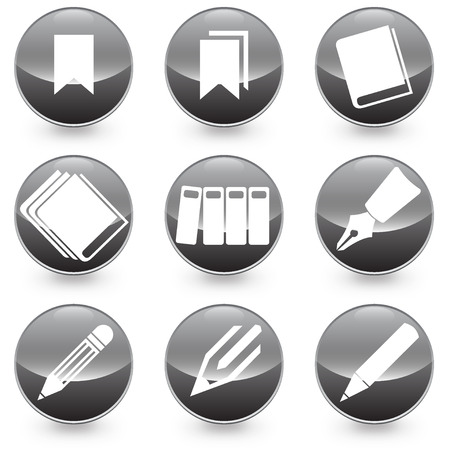 Pen Books Bookmarks vector icons vector illustration with black background, available in JPEG and eps formats
