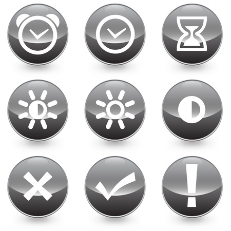 Set of 9 Alarm Bright Contrast vector illustrator icons, available in jpeg and eps formats