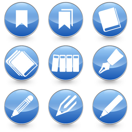 Pen Books Bookmarks icons blue background Illustration