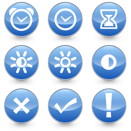 9 Alarm Bright Contrast icons blue background
