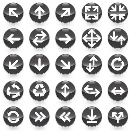 25 Arrows icons with black background