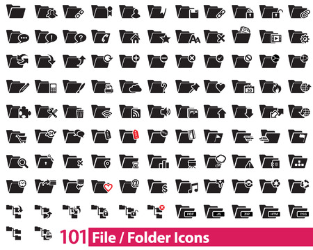 101 File and Folder Icons vector illustrator, available in jpeg and eps formats, to modify this file editing software such as Adobe Illustrator is required.