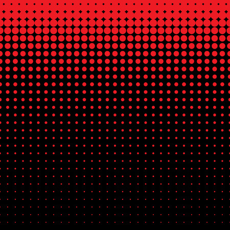 Beautiful seamless vector red dotted pattern on black background. Can be used for wallpaper, pattern fills, web page background, surface textures. Illustration