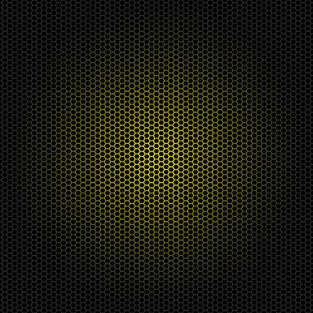 Seamless vector hexagon yellow metal pattern black background Illustration