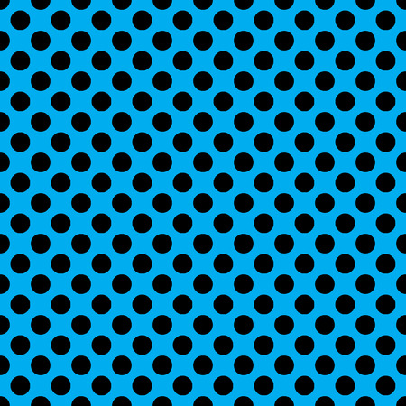 any size: Beautiful seamless vector black dots pattern on neon blue background. Can be scaled at any size and used for wallpaper pattern files web page background surface textures.