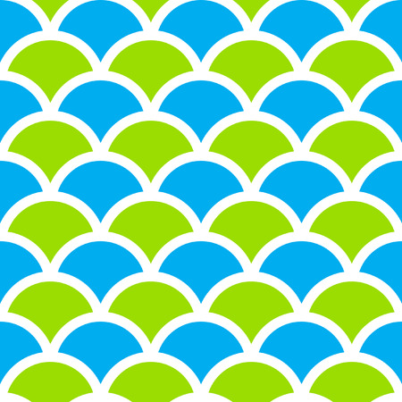scaled: Traditional Seigaiha Japanese seamless wave pattern. Scaled at any size and used for wallpaper pattern files web page blog surface textures graphic  printing.  Illustration