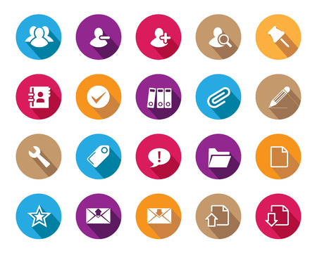 office icons: Stock Vector colourful rounded web and office icons with shadow in high resolution. Scaled at any size and used for SEO, web page, blog, mobile apps, documents, graphic  printing. Illustration