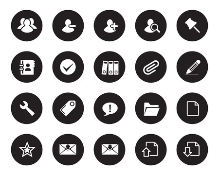 office icons: Stock Vector black rounded web and office icons with shadow in high resolution. Scaled at any size and used for SEO, web page, blog, mobile apps, documents, graphic  printing.
