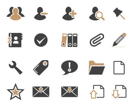 any size: Stock Vector brown grey combination web and office icons in high resolution. Scaled at any size and used for SEO, web page, blog, mobile apps, documents, graphic  printing. Illustration