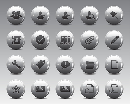 high size: 3d grey balls Stock Vector web and office icons with shadow in high resolution. Scaled at any size and used for SEO, web page, blog, mobile apps, documents, graphic  printing. Illustration