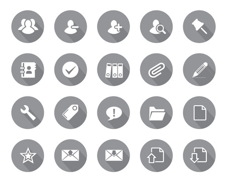 office icons: Stock Vector grey rounded web and office icons with shadow in high resolution. Scaled at any size and used for SEO, web page, blog, mobile apps, documents, graphic  printing.
