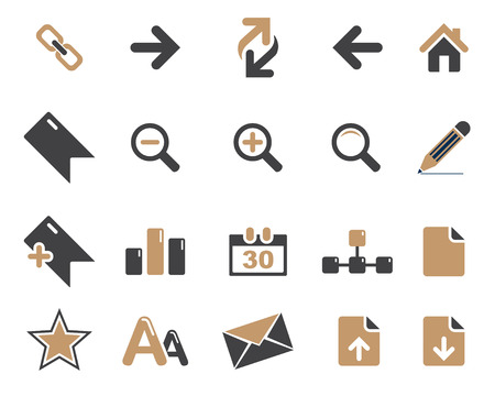 any size: Stock Vector brown grey web and office icons in high resolution. Scaled at any size and used for SEO, web page, blog, mobile apps, documents, graphic  printing. Illustration