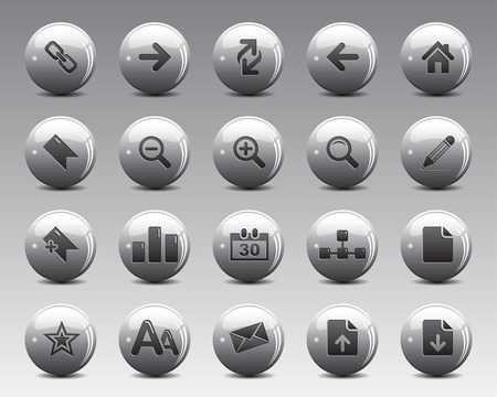 office icons: 3d grey balls Stock Vector web and office icons with shadow in high resolution. Scaled at any size and used for SEO, web page, blog, mobile apps, documents, graphic  printing. Illustration