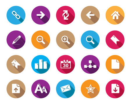 high size: Stock Vector colourful rounded web and office icons with shadow in high resolution. Scaled at any size and used for SEO, web page, blog, mobile apps, documents, graphic  printing. Illustration