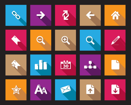 office icons: Stock Vector Square shaded web and office icons in high resolution. Scaled at any size and used for SEO, web page, blog, mobile apps, documents, graphic  printing.