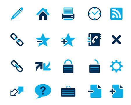 broken link: Stock Vector blue web and office icons in high resolution. Scaled at any size and used for SEO, web page, blog, mobile apps, documents, graphic  printing. Vectores