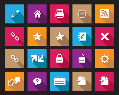 feedback link: Stock Vector Square shaded web and office icons in high resolution. Scaled at any size and used for SEO, web page, blog, mobile apps, documents, graphic  printing.