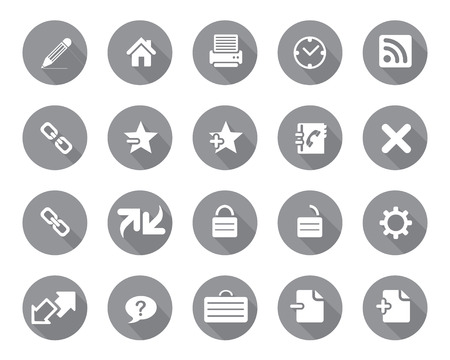 icone: Stock Vector grey rounded web and office icons with shadow in high resolution. Scaled at any size and used for SEO, web page, blog, mobile apps, documents, graphic  printing.