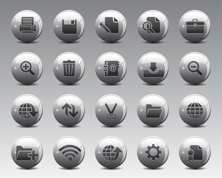scaled: 3d grey balls Stock Vector web and office icons with shadow in high resolution. Scaled at any size and used for SEO, web page, blog, mobile apps, documents, graphic  printing. Illustration