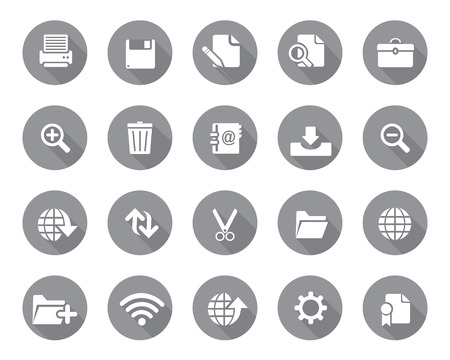 any size: Stock Vector grey rounded web and office icons with shadow in high resolution. Scaled at any size and used for SEO, web page, blog, mobile apps, documents, graphic  printing.