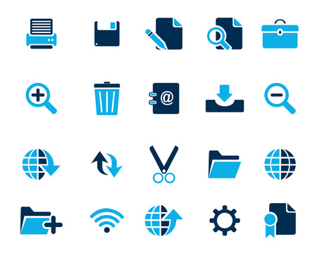 feedback link: Stock Vector blue web and office icons in high resolution. Scaled at any size and used for SEO, web page, blog, mobile apps, documents, graphic  printing. Illustration