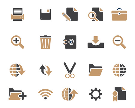 document icon: Stock Vector brown grey web and office icons in high resolution. Scaled at any size and used for SEO, web page, blog, mobile apps, documents, graphic  printing. Illustration